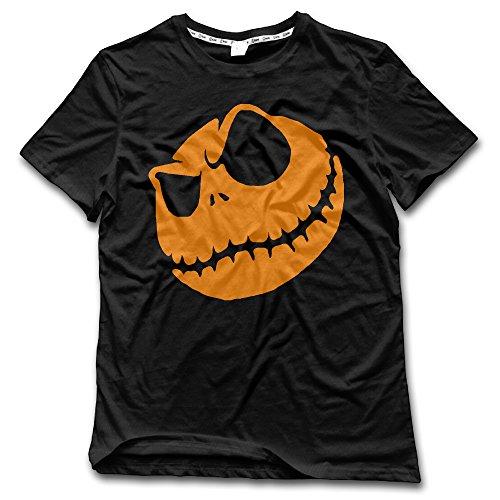 CHALZ Men's Halloween Pumpkin King Logo Crew Neck Tshirts XXL Black]()