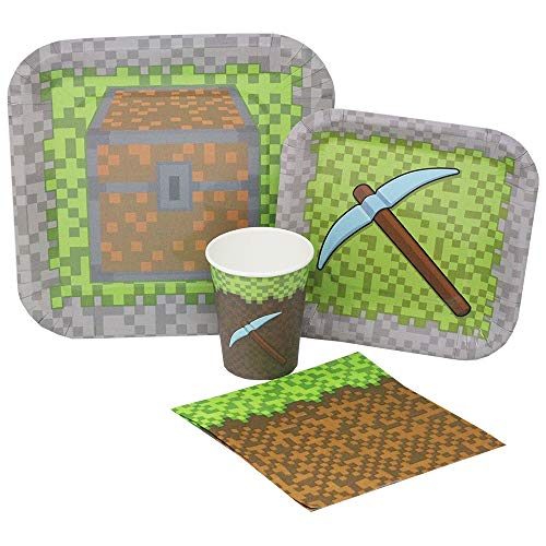 Blue Orchards Mining Fun Standard Party Packs (65+ Pieces for 16 Guests!), Minecraft Inspired, Pixel Party Supplies, Birthday Parties
