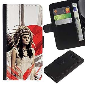 KLONGSHOP // Tirón de la caja Cartera de cuero con ranuras para tarjetas - Chica nativo americano - Samsung Galaxy S3 III I9300 //