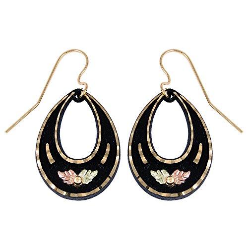 Tear drop Fashion Earrings with Black Hills Gold Trim and Leaf (Black & Gold Leaf Earrings)