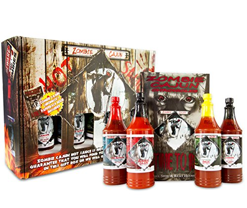 Zombie Cajun Hot Sauce Gift Set, Gourmet Basket Includes 4 (6oz) Bottles of the Best Louisiana Hot Sauce - Garlic, Jalapeno, Habanero, and Cayenne Pepper, Plus a  Zombie Gifts Book (Birthday Gift Baskets For Husband)