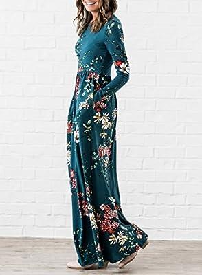 ZESICA Women's Floral Print Long Sleeve Pockets Empire Waist Pleated Long Maxi Dress