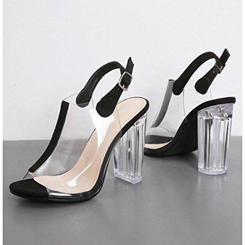 ZHZNVX Damenschuhe PU-Komfort im Sommer Sandalen Ferse geschlossen Toe für Casual Outdoor Schwarz Mandel