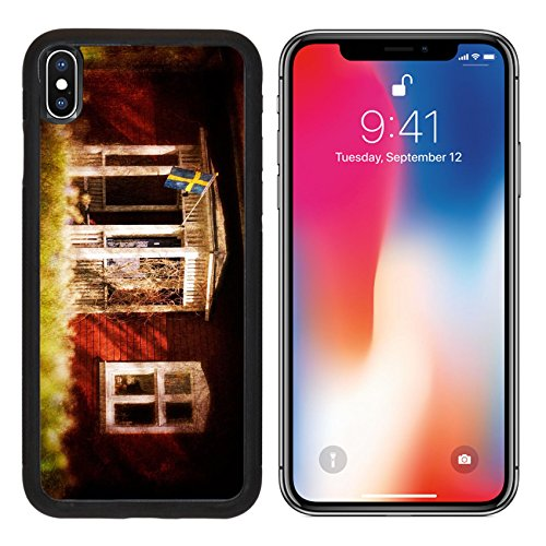 MSD Premium Apple iPhone X Aluminum Backplate Bumper Snap Case Old red wooden house in the swedish countryside in spring Textured picture vintage style IMAGE 29799740