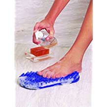Body & Sole Foot Scrubber & Massager, Pearl Blue, Foot-shaped Pad, Liquid Soap Sample Included