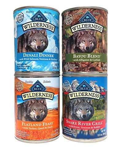 Blue Buffalo Wilderness Grain Free Dog Food Variety Pack, 4 Flavors (Denali Dinner, Flatland Feast, Bayou Blend, and Snake River Grill), 12-5 Ounces (8 Total Cans) (Blue Buffalo Salmon Dinner)