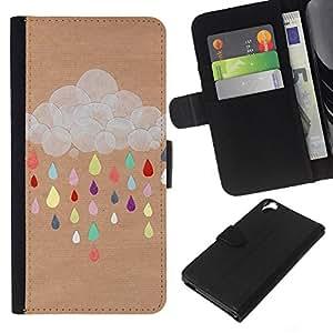 Planetar® Modelo colorido cuero carpeta tirón caso cubierta piel Holster Funda protección Para HTC Desire 820 ( Cloud Drawing Colorful Brown )