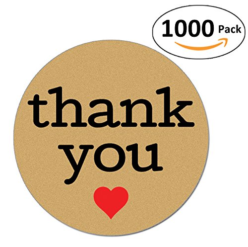 Natural Paper Kraft Thank You Sticker Labels With Red