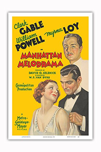 Pacifica Island Art Manhattan Melodrama - Starring Clark Gable, William Powell and Myrna Loy - Vintage Film Movie Poster c.1934 - Master Art Print - 12in x - Movie Poster Gable