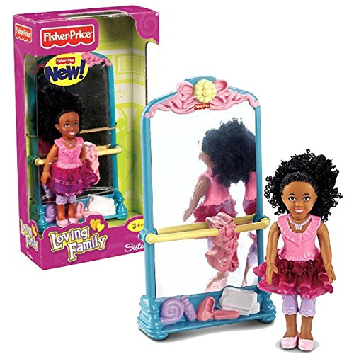 Search : Fisher-Price Year 2011 Loving Family Dollhouse Series 4-1/2 Inch Doll Figure Set - Sister with Mirror (African American Version - W8796)