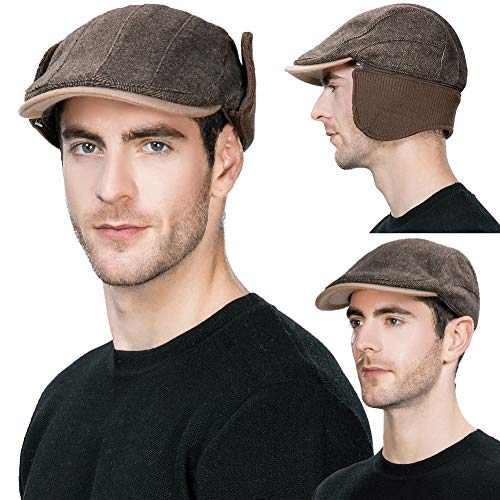 SIGGI Mens Winter Hat with Ear Flaps Hats Hunting Wool Newsboy Cap Cold  Weather Fitted Earflap ef452fe4e985
