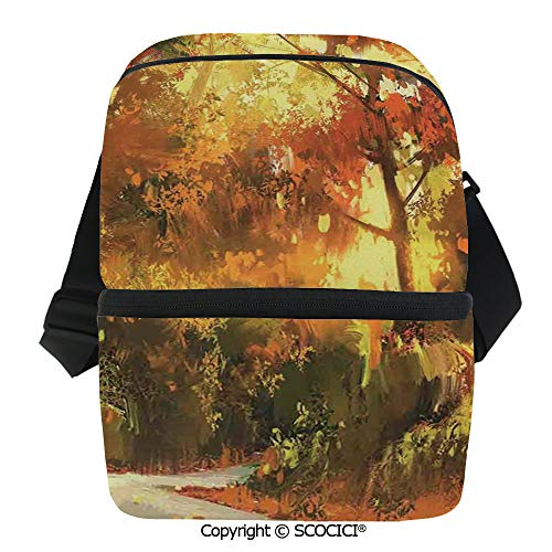 SCOCICI Cooler Bag Pathway in Autumn Forest with Shady Leaf of Deciduous Trees View Insulated Lunch Bag for Men Women for Kayak,Beach,Travel,Work,Picnic,Grocery ()