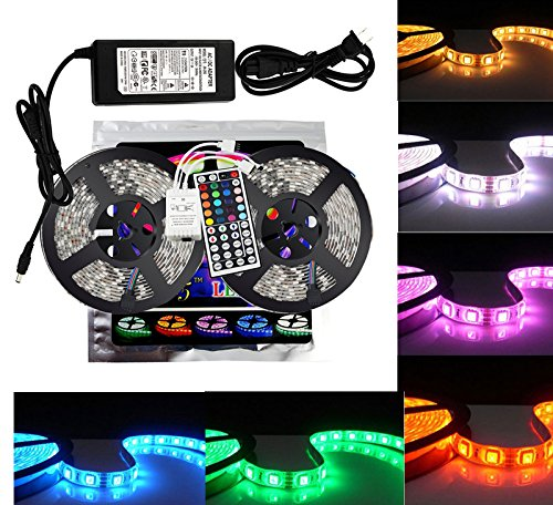 10M 2x5M 3528 SMD RGB 600LEDs LED Light Strip Lamp 44Key IR remote Waterproof - 1