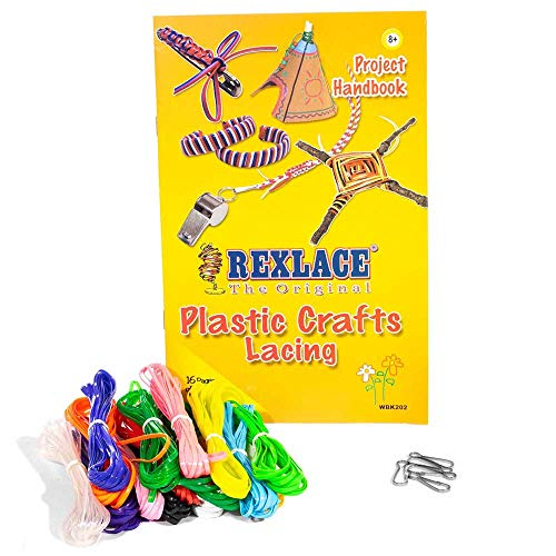 Rexlace Plastic Crafts Lacing Super Value Pack - 200 Feet of Plastic Lacing, 5 Lanyard Snaps, Colorful Project - Value Super Lanyard