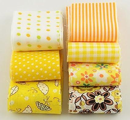 7 cintas telas amarillas algodon costura, scrapbooking, lazos, toallas, sabanas, canastillas