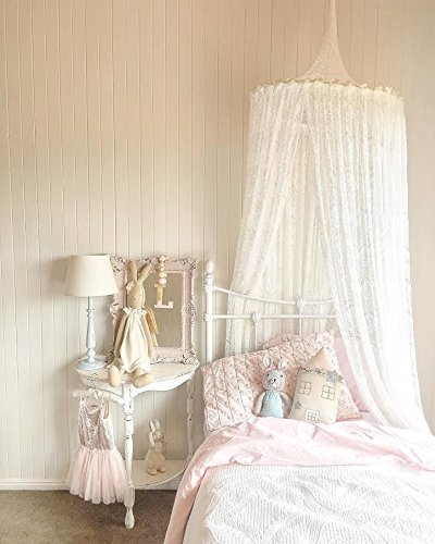 White Lace Princess Hanging Round Bed Netting Mosquito Net for Crib Twin Full Queen (Hanging Lace)
