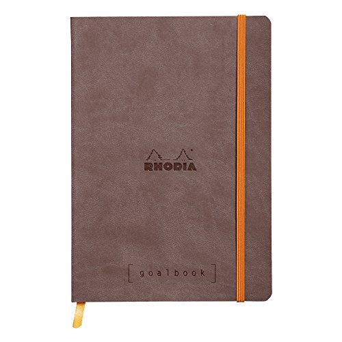 Rhodia Goal Book Dot Grid, 5.75x8.25 Inch, Chocolate Cover with Ivory Paper, 224 Pages, (Ivory Chocolates)