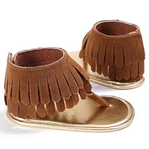 Tefamore Zapatos Sandalias de Borla de recién nacido Suela blanda Antideslizante para niños pequeños Bebé Sneakers Marrón