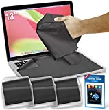 """Microfiber Screen Cleaner & Protector - Best for 13"""" Laptops & MacBook Air, Pro & Retina Screens - Kit Includes: 3 Large Cloths / Keyboard Covers in Protective Pouches + Cleaning Sticker"""