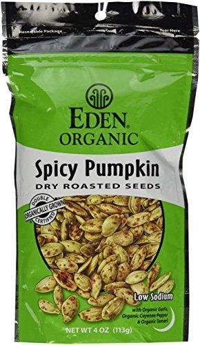 Eden Organic Dry Roasted Seeds Spicy Pumpkin 4 Oz Resealable Bags (Pack of (Hot Pumpkin)