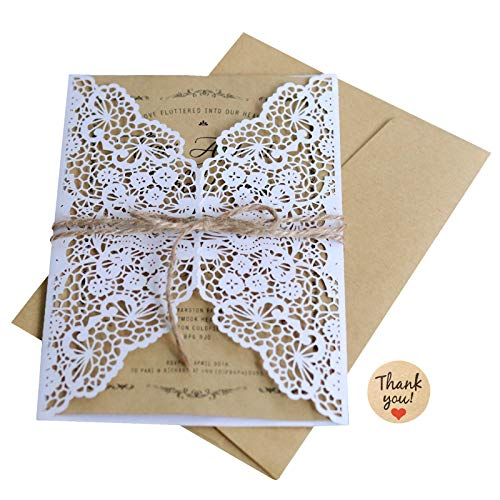 LXKBD 20Pcs Wedding Invitation Cards Kraft Paper Invitation with envelops Laser-Cut Invitations Kit for Marriage Engagement Bridal Shower Party ()