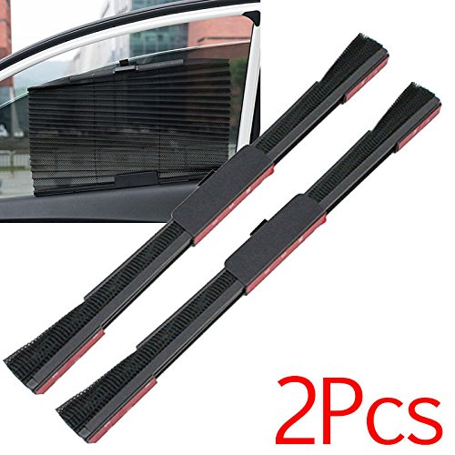 NPLE--2pcs Car Foldable Side Window Windshield Sun Shade Curtain Valance Visor Black