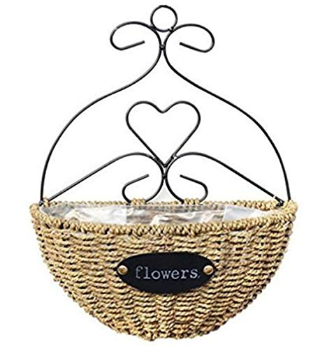 Mecai Metal Wall Hanging Basket Planter Demilune Shape Wicke Straw Artificial Flower Plant with Iron Scrollwork Frame