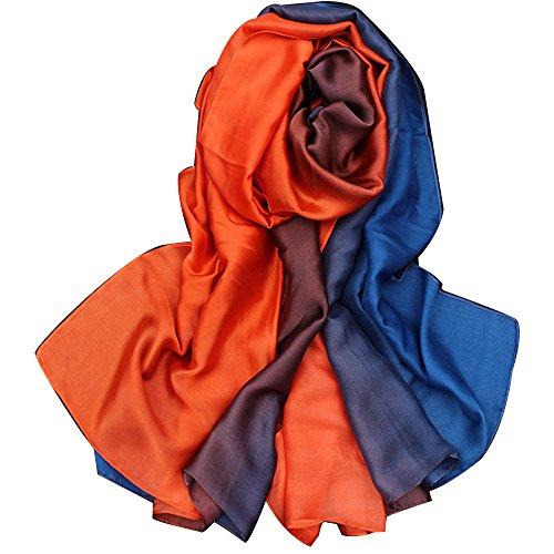 TDRFORCE Women Scarf Oversized Gradient Satin Silk Shawl Wrap Scarves Muffler Stole-gradient royal blue-orange (Silk Scarves For Sex)