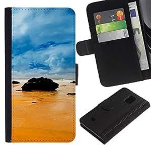 Lead-Star (Rocks on the beach) Colorida Impresión Funda Cuero Monedero Caja Bolsa Cubierta Caja Piel Card Slots Para Samsung Galaxy S5 Mini / SM-G800 (Not For S5!!!)