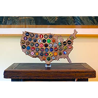 Desktop USA Beer Cap Map with Acrylic and Wood Stand
