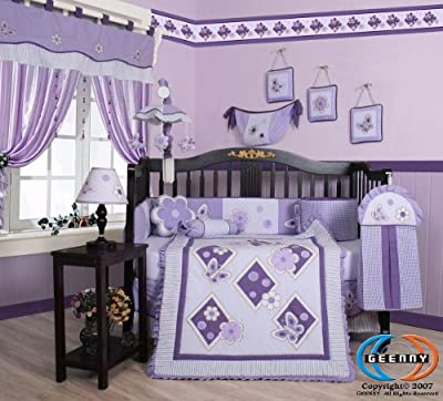 Boutique GEENNY Lavender Butterfly 13PCS Baby Nursery CRIB BEDDING SET by GEENNY