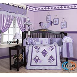 GEENNY Boutique 13 Piece Girl's Crib Bedding Set, Lavender Butterfly