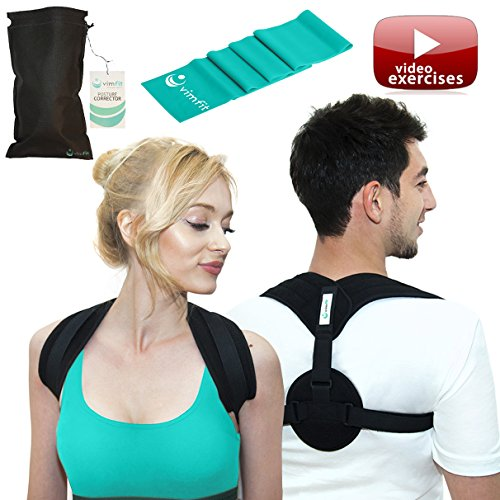 (VIMFIT Posture Corrector for Women Men - Upper Back Support Clavicle Shoulder Brace Thoracic Kyphosis - Improve Bad Posture Alignment Fix Back Pain + Exercises and Stretch Band)