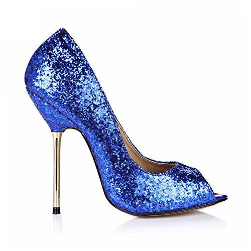 bleu talon chaussures La nocturne poisson à le vie haut Chip Blue de rouge chaussures pointe F4SRq0xSn