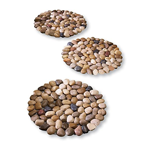 Collections Etc Limestone Rock Stepping Stones - Set of 3