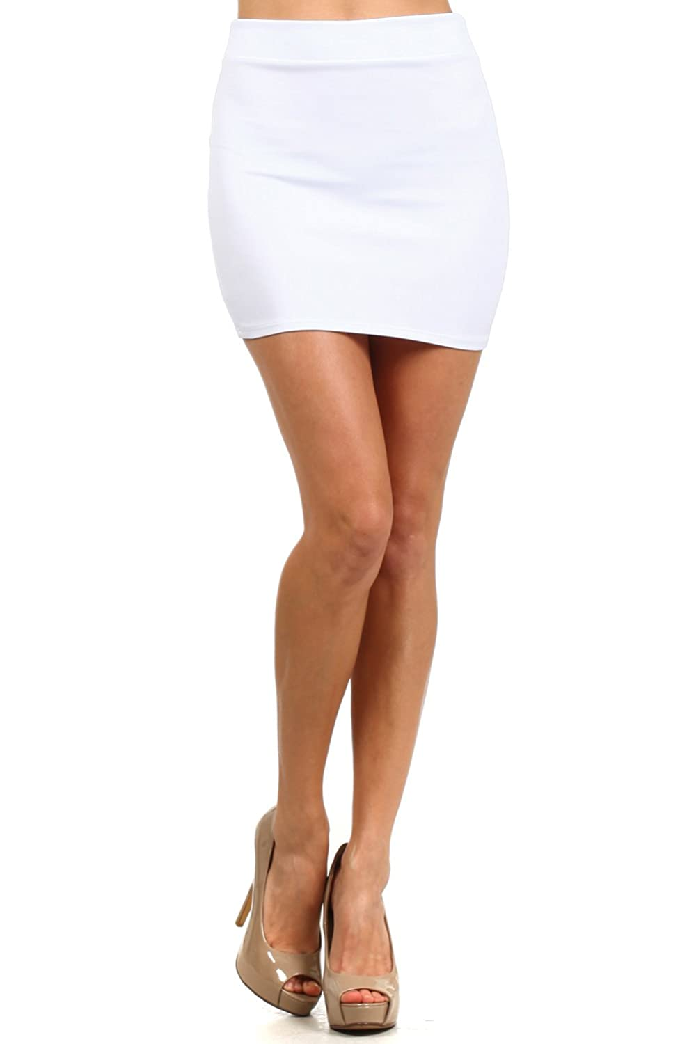 Women's Fitted Solid Mini Skirt with Stretch