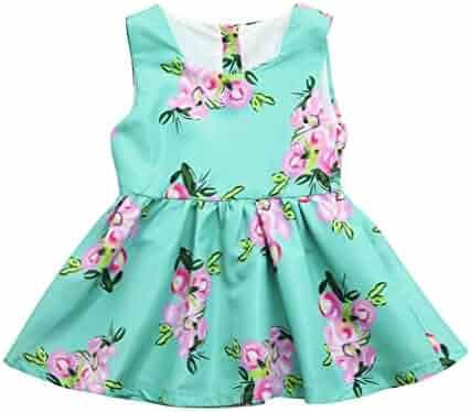 133e8c2f56 Kehen Sleeveless Flower Print Sundress Summer Princess Party Pageant Dress  for Nebworn Baby Toddler Girl