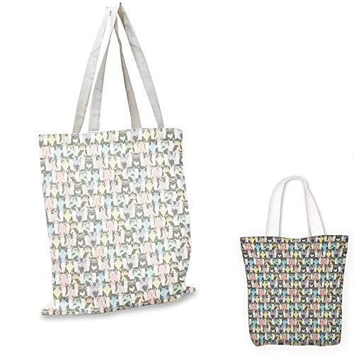 fashion shopping tote bag Cat Retro Style Pattern with Cute Cats Hipster Sunglasses Bow Ties Hand Drawn Style Vintage Multicolor shopping bag for women