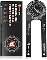 Saker Miter Saw Protractor|7-Inch Aluminum Protractor Angle Finder Featuring Precision Laser-Inside & Outside Miter Angle Finder for Carpenters, Plumbers and All Building Trades (Black)