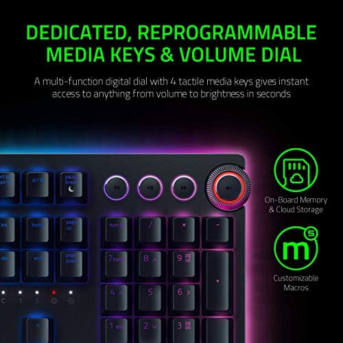 Razer Huntsman Elite Gaming Keyboard: Fastest Keyboard Switches Ever – Clicky Optical Switches – Chroma RGB Lighting – Magnetic Plush Wrist Rest – Dedicated Media Keys & Dial – Classic Black 51Qr4i4Z fL