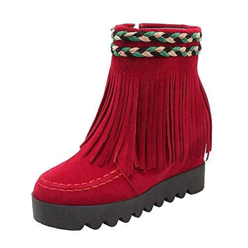 Mee Shoes Damen hidden heel runde Quaste kurzschaft Reißverschluss Ankle Boots Rot