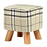 SODIAL(R) Upholstered Footstool Modern Luxury Upholstered Footstool Pouffe Stool + Wooden Leg Pattern:Square Fabric:Big Checkered(4 Legs)
