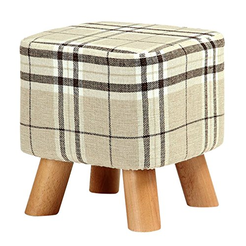 SODIAL(R) Upholstered Footstool Modern Luxury Upholstered Footstool Pouffe Stool + Wooden Leg Pattern:Square Fabric:Big Checkered(4 Legs) by SODIAL(R)