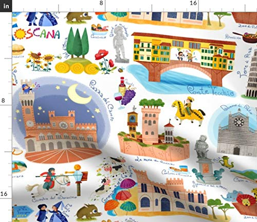 (Spoonflower Illustrated maps Fabric - Italy Maps Tuscany Pisa Buildings Trees Illustrated Maps Tuscany Italy Travel Pisa by Gnoppoletta Printed on Petal Signature Cotton Fabric by The Yard)
