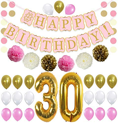PINK 30th BIRTHDAY DECORATIONS PARTY KIT - Pink Gold and Cream Paper PomPoms| Latex Balloons | Gold Number 30 Ballon | Circle Garland | 30th Birthday Balloons | 30 Years Old Birthday Party Supply]()