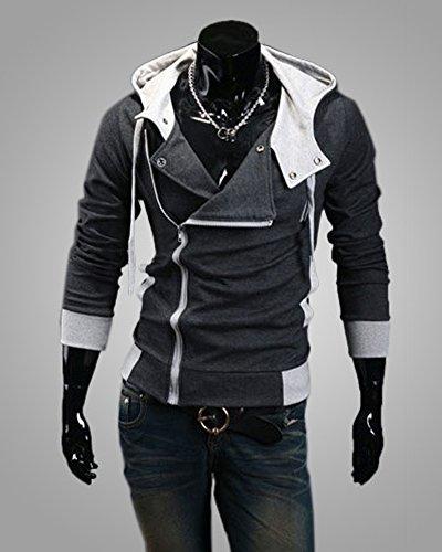 Contrasto Hoodies Scuro Sportivo Autunno Casuale Minetom Obliqua Sweatshirt Cerniera Felpa Moda Primavera Maglione Con Grigio Colore Cappuccio Uomo 1n6xqg5Tw