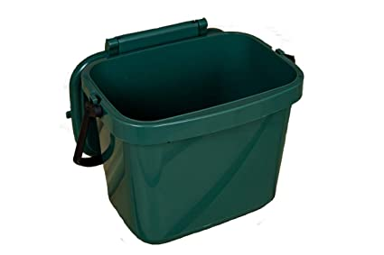7 LITRE KITCHEN CADDY COMPOST FOOD WASTE BIN GREEN WITH HANDLE CADDY
