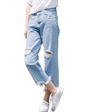 SaiDeng Damen Boyfriend Jeanshose Denim Jeans Risse Am Knie