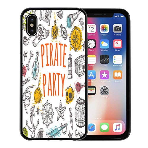 Emvency Phone Case for Apple iPhone Xs case,Hat Pirate Party Watercolor Splashes Ahoy Treasure Anchor Badge for iPhone X Case,Rubber Border Protective Case,Black ()