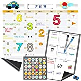 2 Pack Magnetic Dry Erase Calendar, Refrigerator Calendar, Fridge Weekly and Monthly Board, with FREE Magnetic White Board Markers and Eraser, FREE DIY Magnets and Stickers